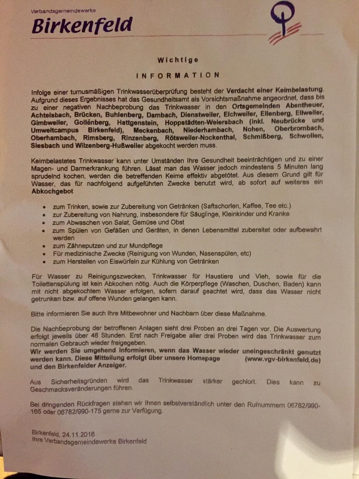 Mit diesem Schreiben informiert die Verbandsgemeinde Birkenfeld die Bürger.